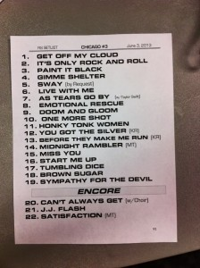 Be in awe of the Rolling Stones set list.